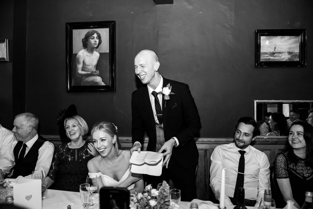 Old Marylebone Town Hall Wedding, Groom gives a wedding speech at Two Brydges restaurant