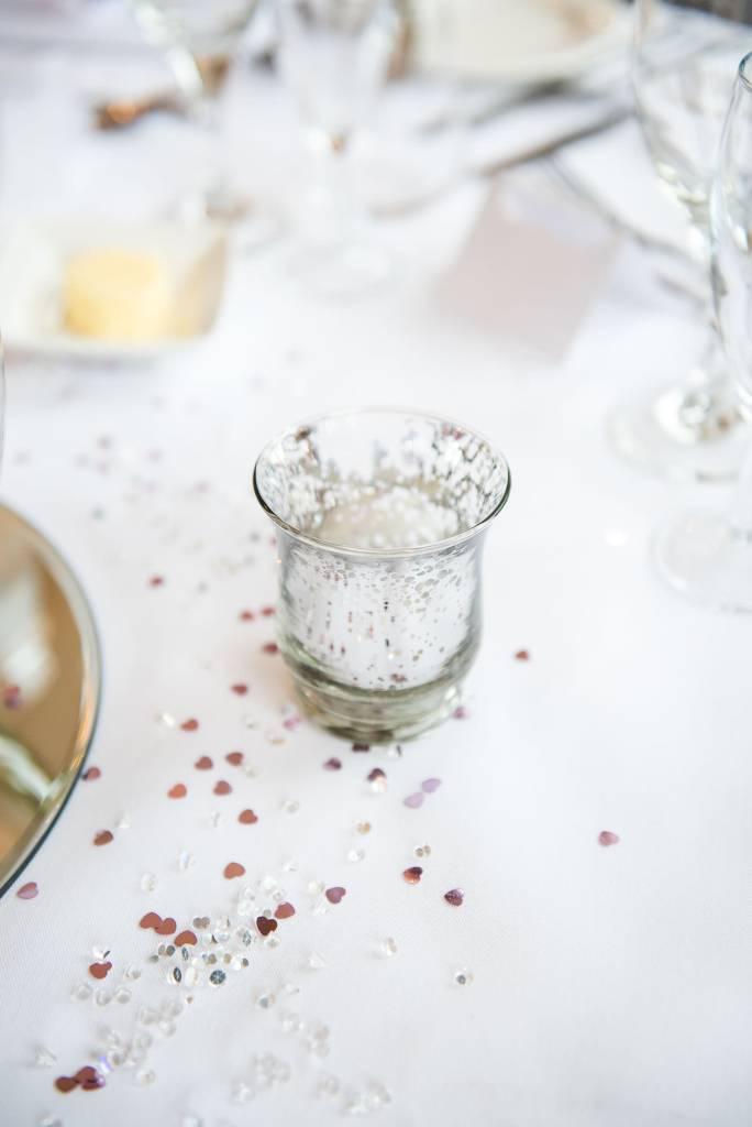 wedding breakfast decor with glitter decoration