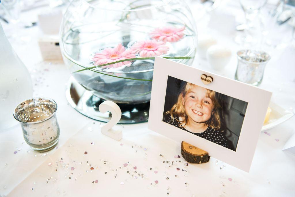 personalised wedding breakfast decor with glitter decoration
