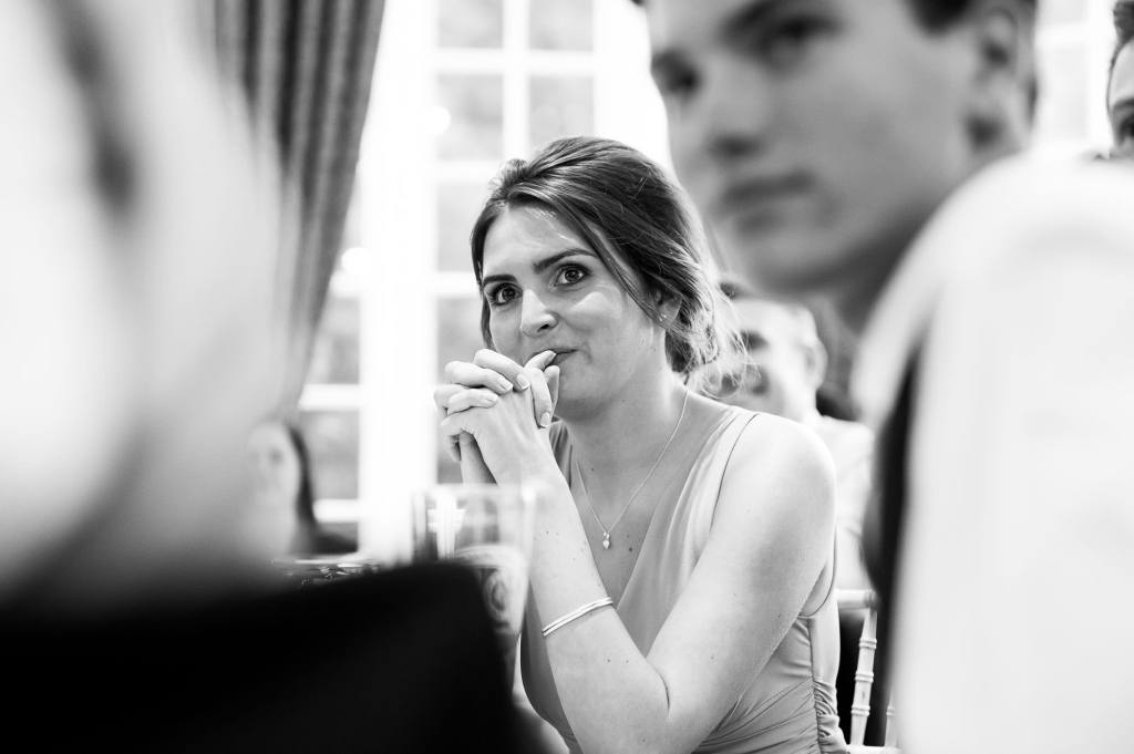 Horsey Towers, black and white photograph of wedding guest reaction