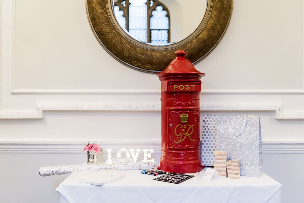 wedding table with personalised red post box