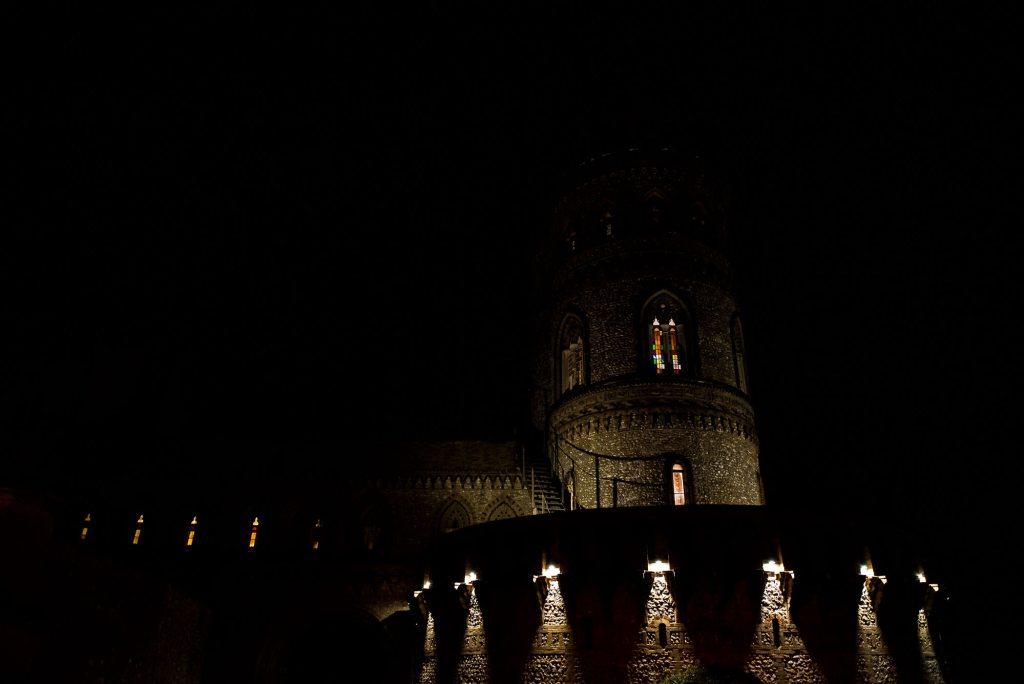 Horsley Towers exterior at night