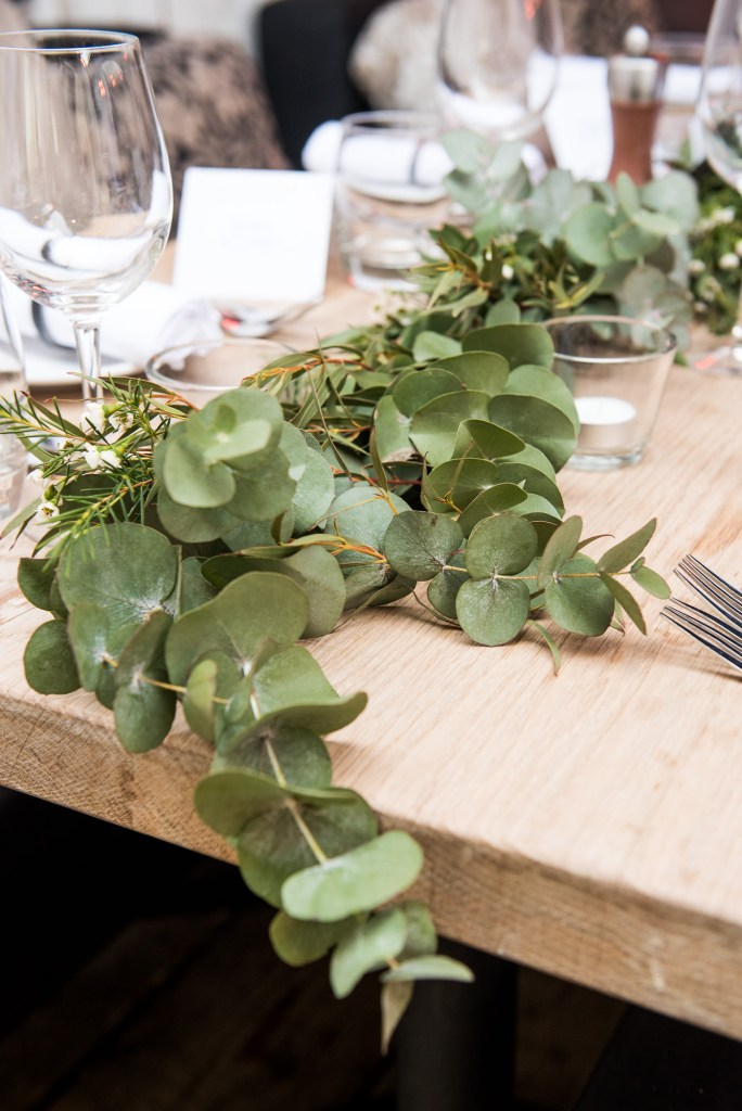 Green botanical table runners for Buckinghamshire wedding photography