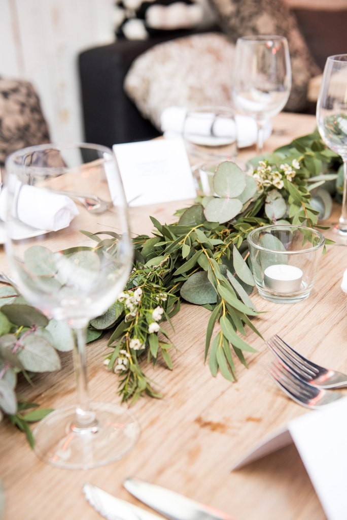 Green botanical table runners for Marlow wedding