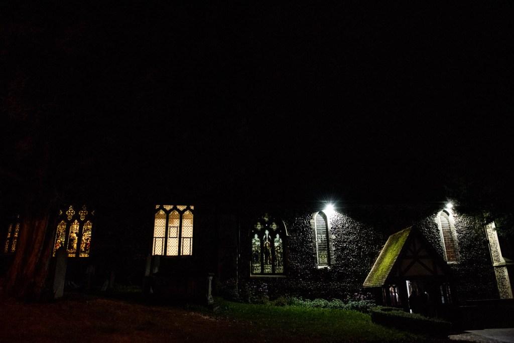 Night exterior of St Mary's Church, Documentary Wedding photographer surrey