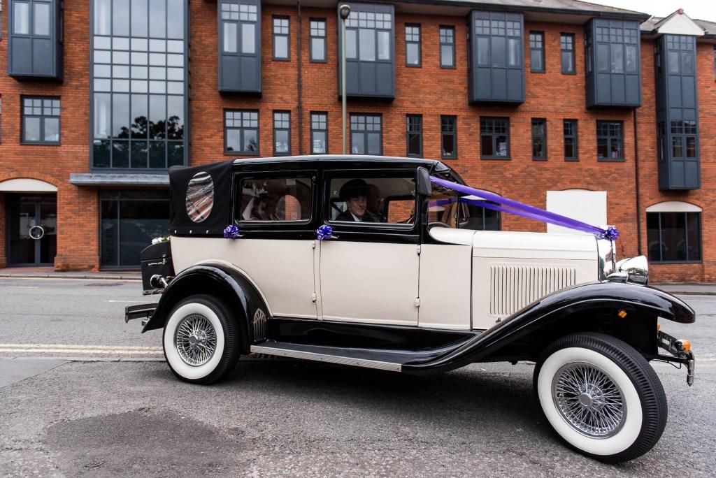 Old fashioned style bridal car