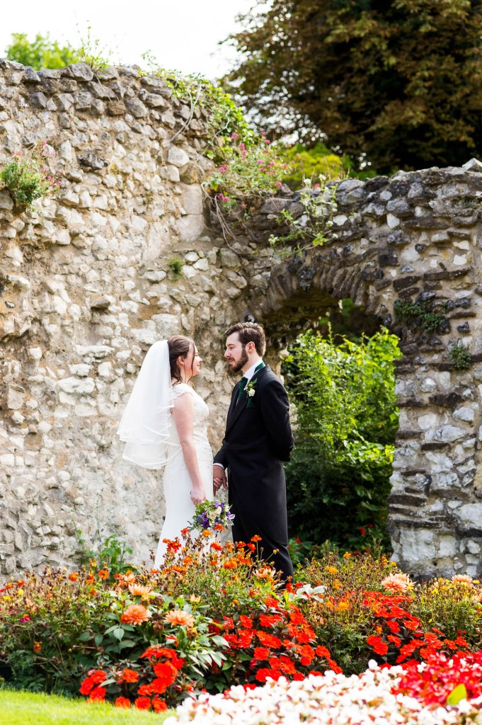 Wedding portraits in the colourful and gorgeous Guildford Castle gardens