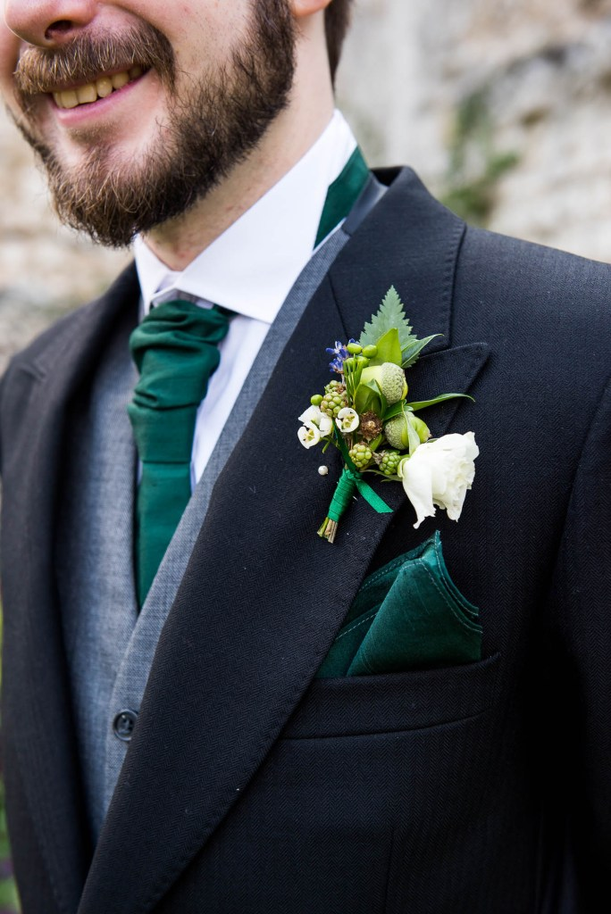 Wildflower button hole for Surrey wedding