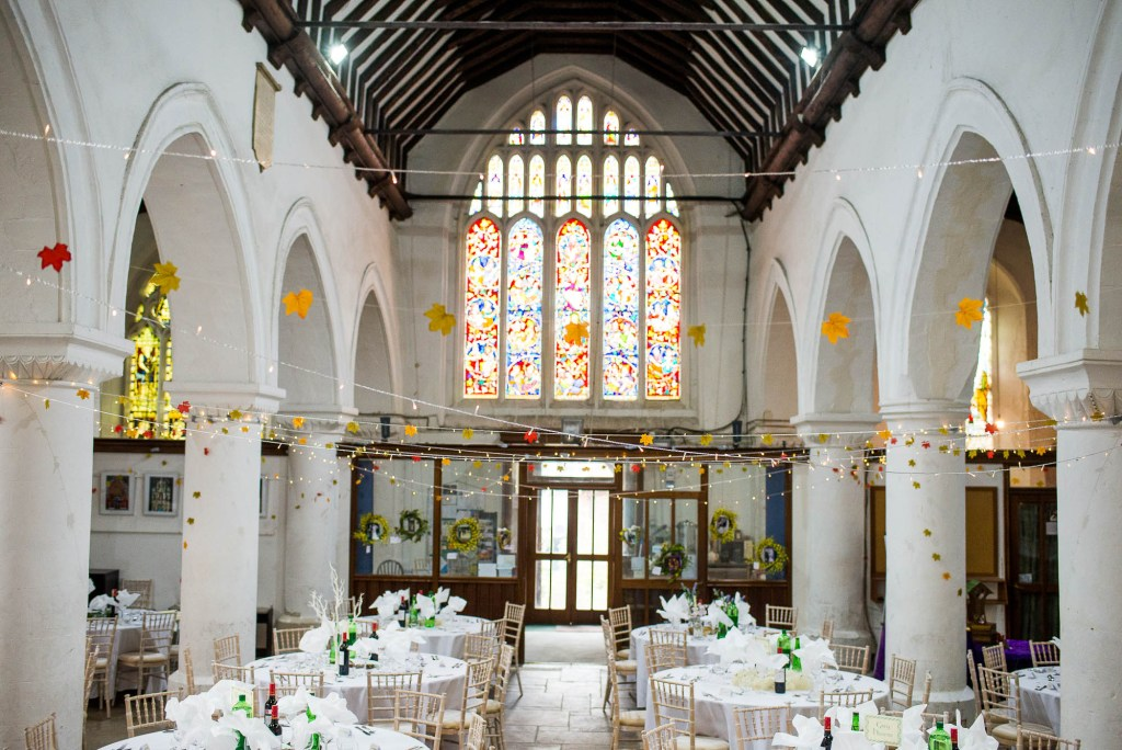 St Mary's church decorated for wedding breakfast