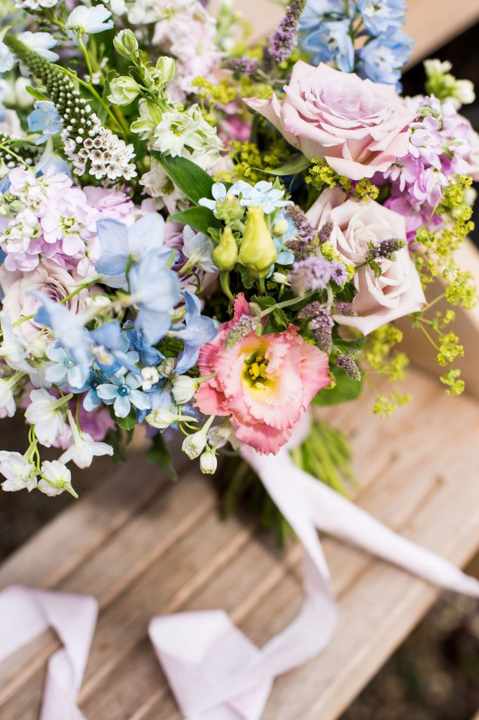 Botley Hill Barn Farm styled shoot with a gorgeous pastel coloured floral bouquet