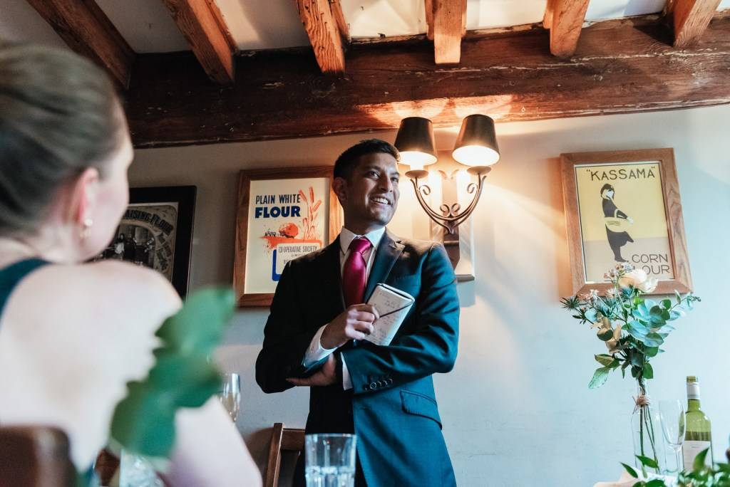 Best man speaks at the Mill at Elstead wedding