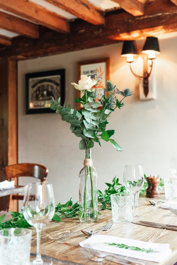 Green and fresh florals for Spring wedding at The Mill at Elstead