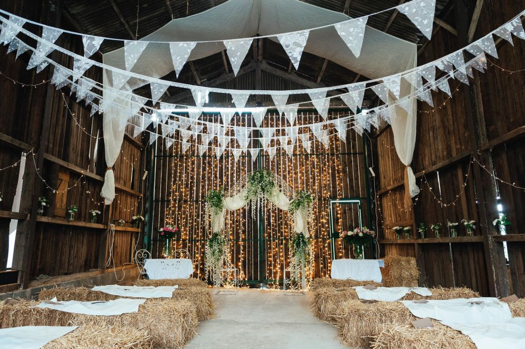 Deepdale Farm Barn decorated for ceremony