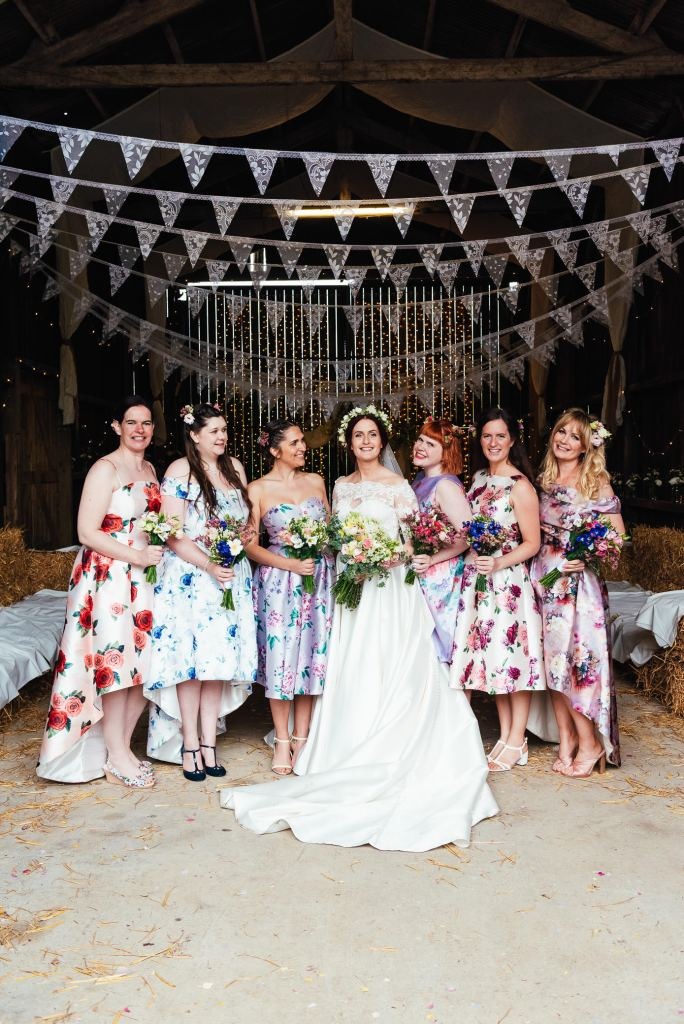 Gorgeous bride and bridesmaid group photography