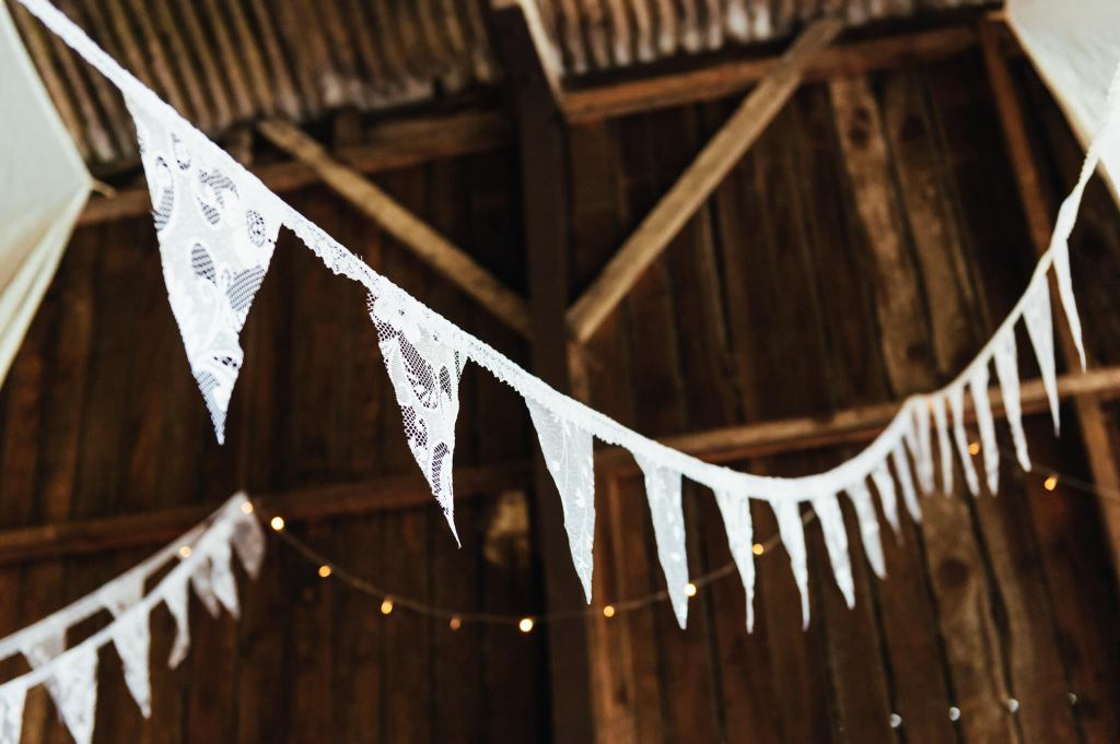 Homemade lace bunting