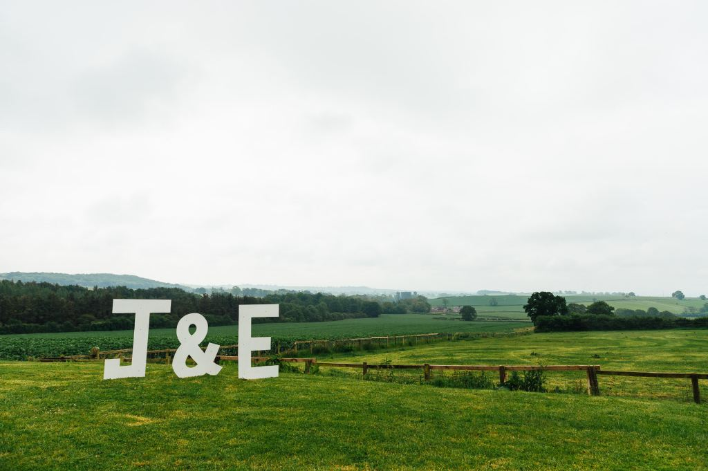 Home made initial stands, Yorkshire wedding photography