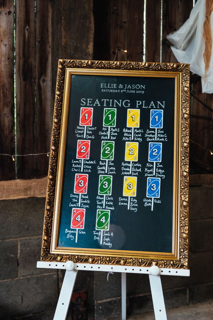 DIY seating plan with UNO card place setting