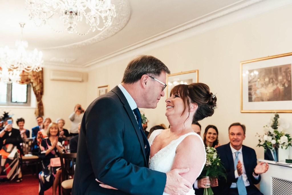 Wedding first kiss reaction