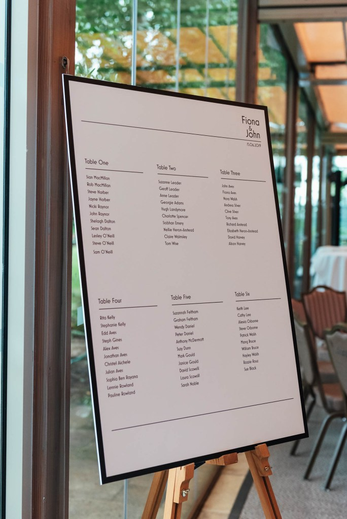 Simple and elegant table plan