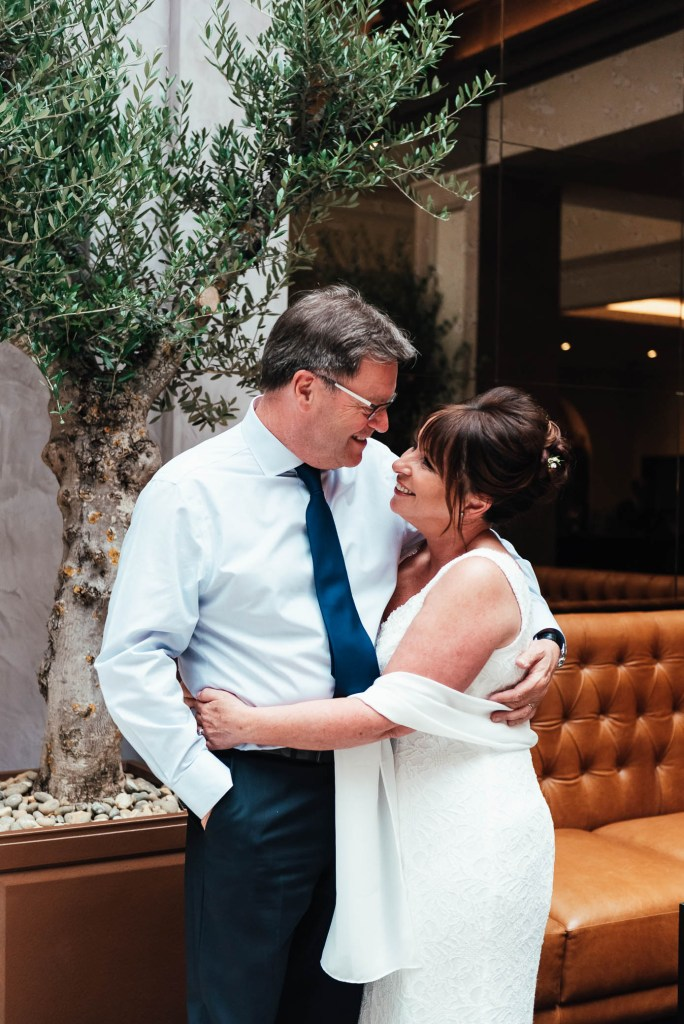Beautiful and candid couples portrait at Oatlands Park Wedding