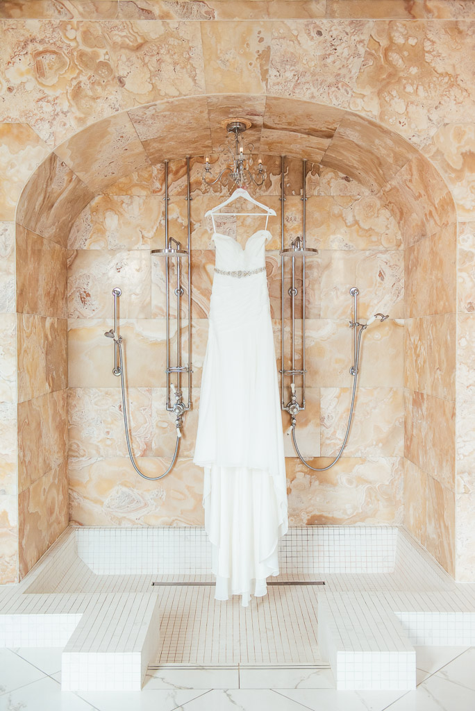 Hedsor House Wedding Dress Hung In Bathroom