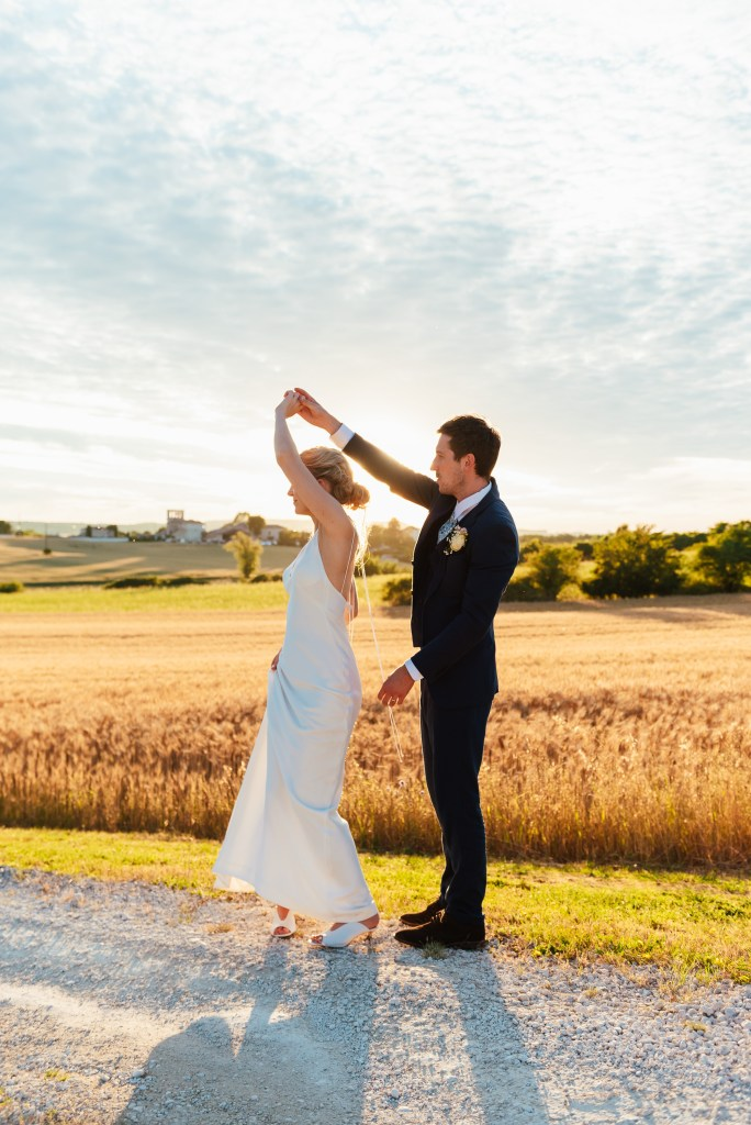 Romantic and natural sunset wedding portrait, destination wedding photography