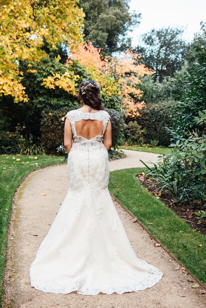 Lace wedding dress with cut out detailing backless dress