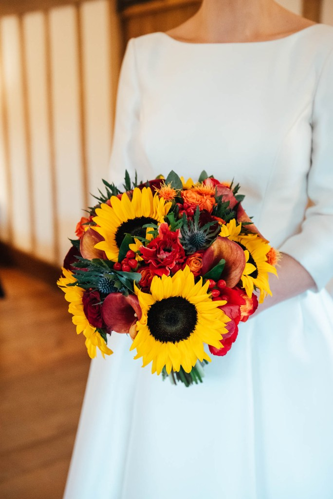Sunflower bouquet for autumn Cain Manor wedding