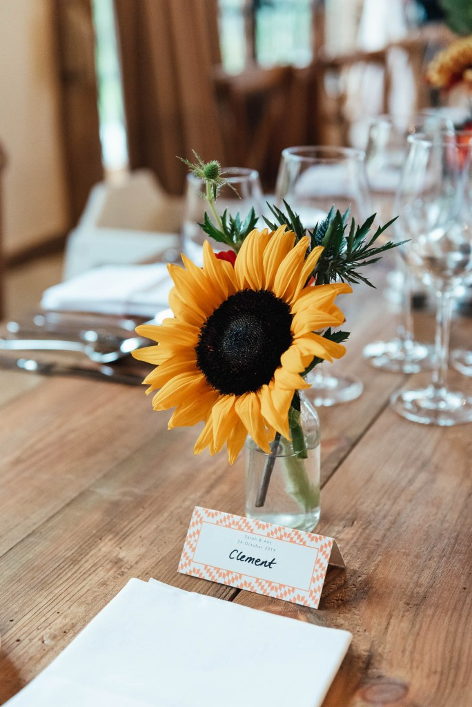 Sunflower floral arrangement with handmade place setting