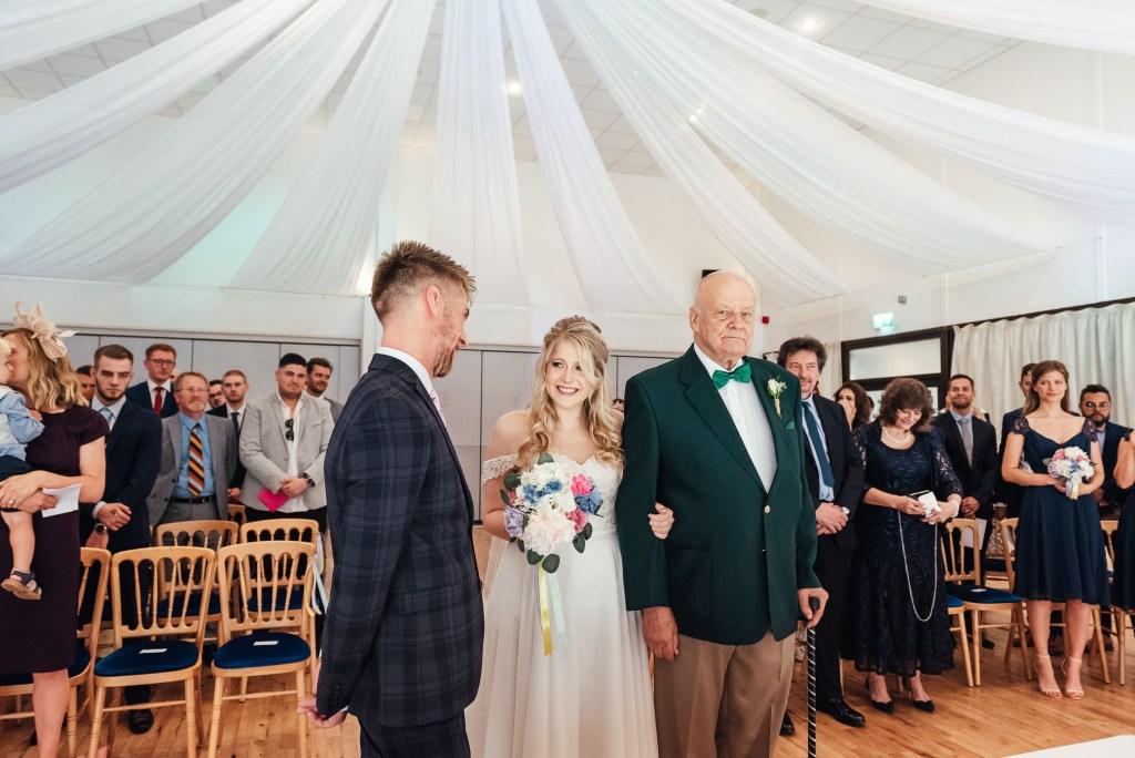 Arrival of the bride for Denbies Wine Estate Wedding