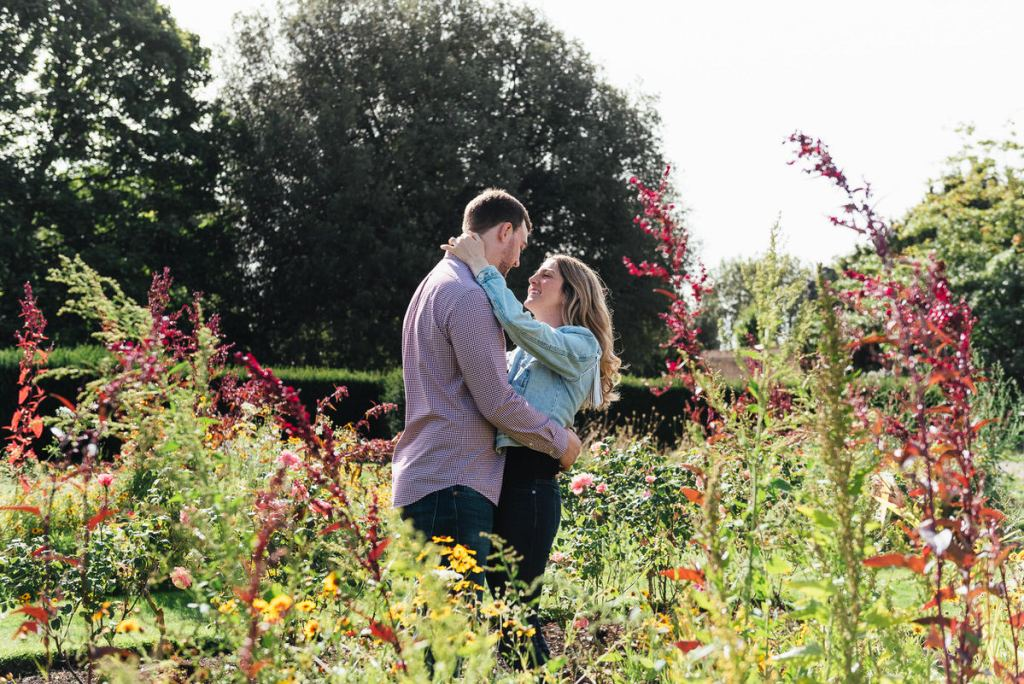 Couple Embrace Amongst the Greenwich Park Rose Garden