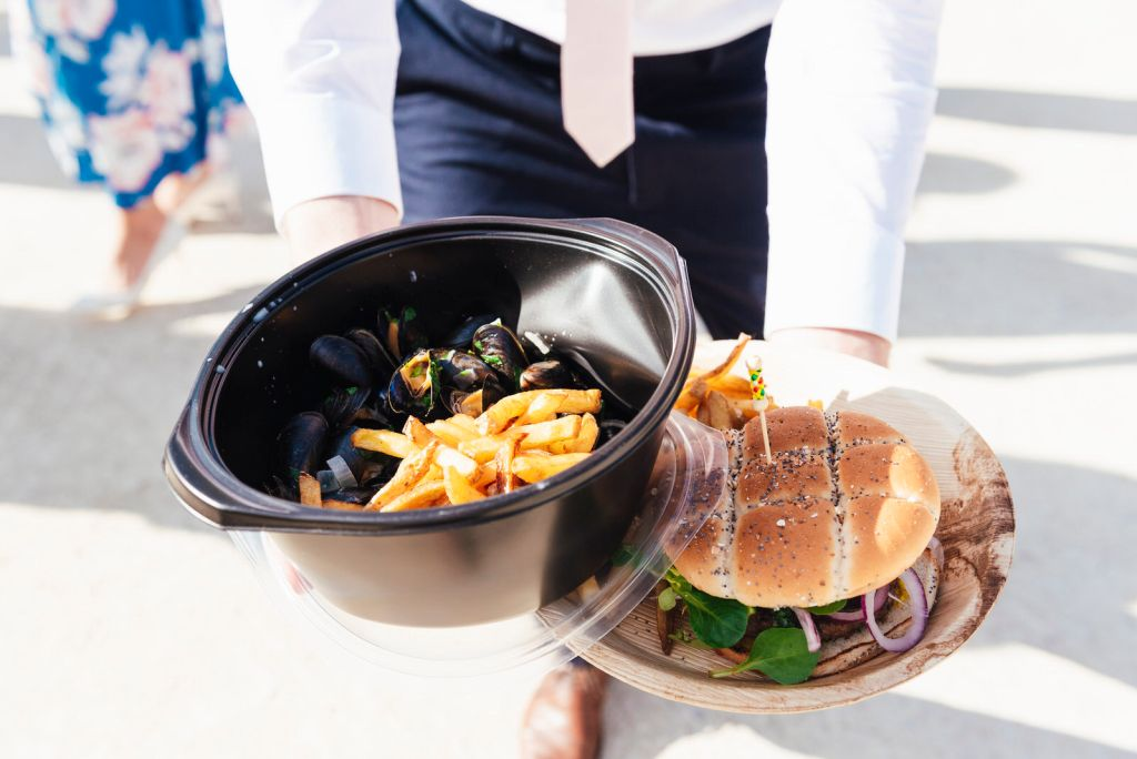 Summer Wedding Food Ideas - Moules Frites and Burger and Chips