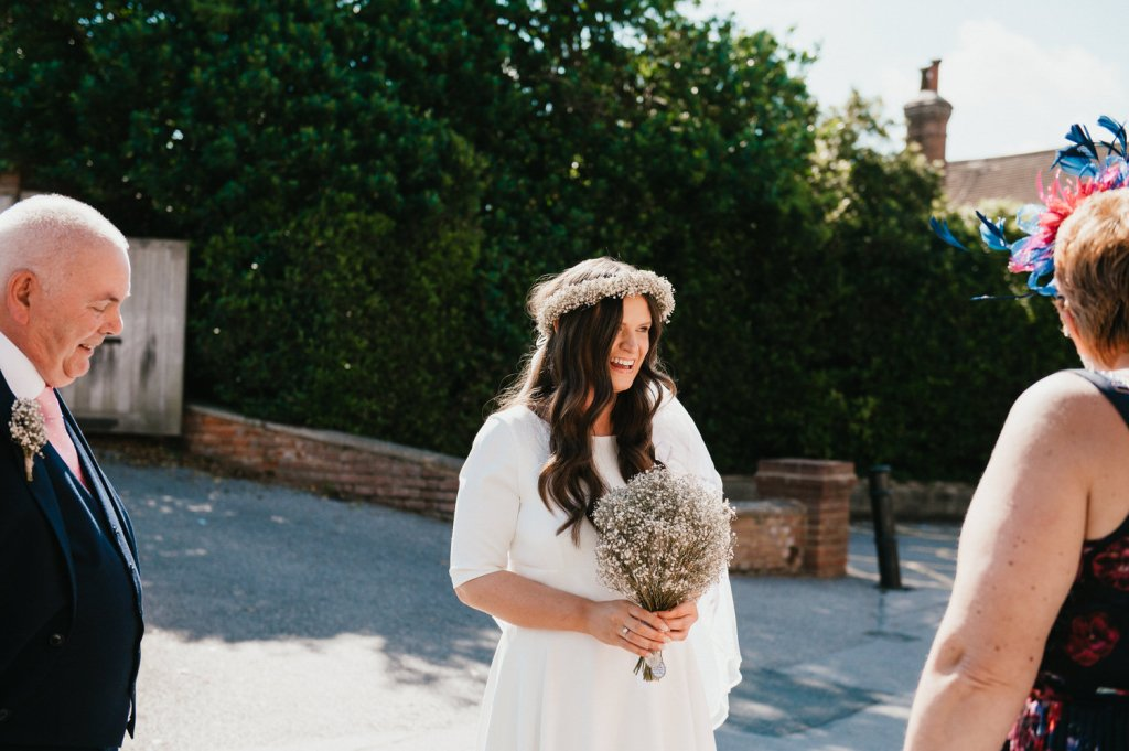 Bride arrives at Leatherhead Registry Wedding