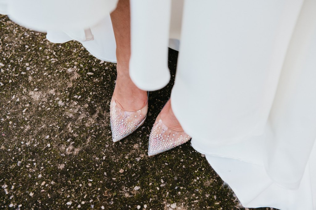 Sparkle Shoes with Classic Wedding Dress, Micro Surrey Wedding