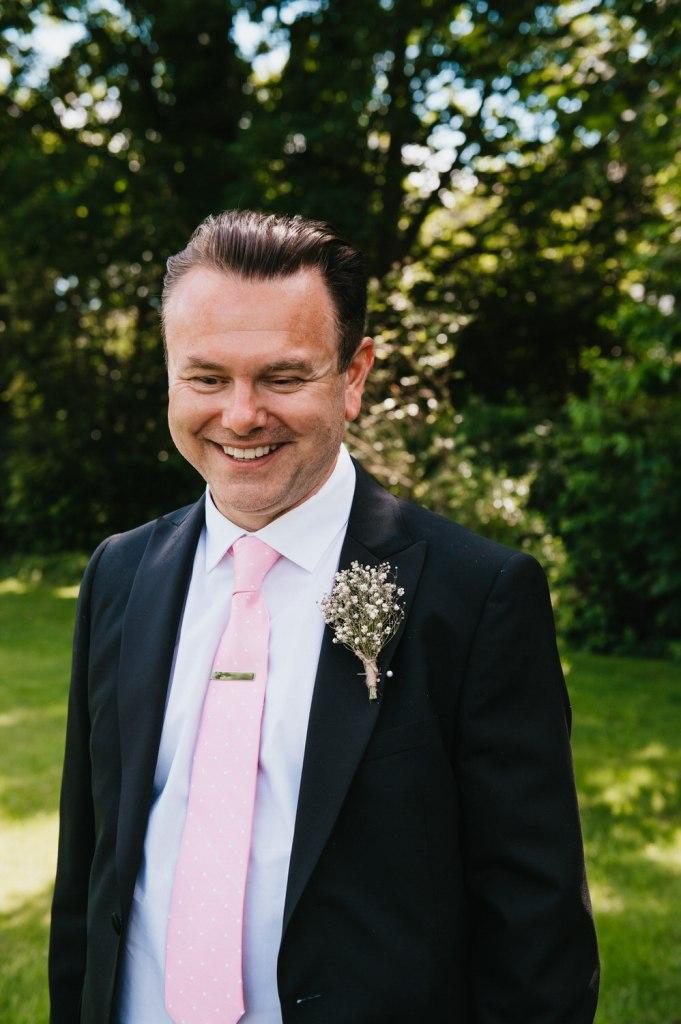 Relaxed Groom Portrait Leatherhead Registry Wedding