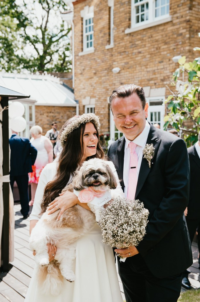 Bride and Groom with Beloved Family Pet