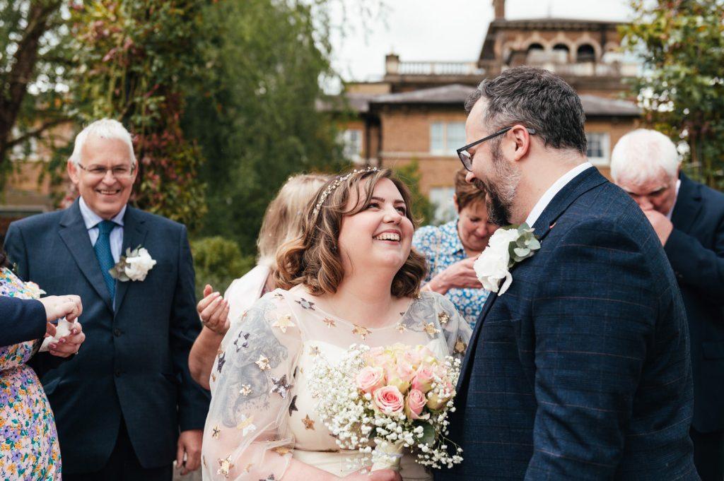 Candid Weybridge Wedding Confetti Shot