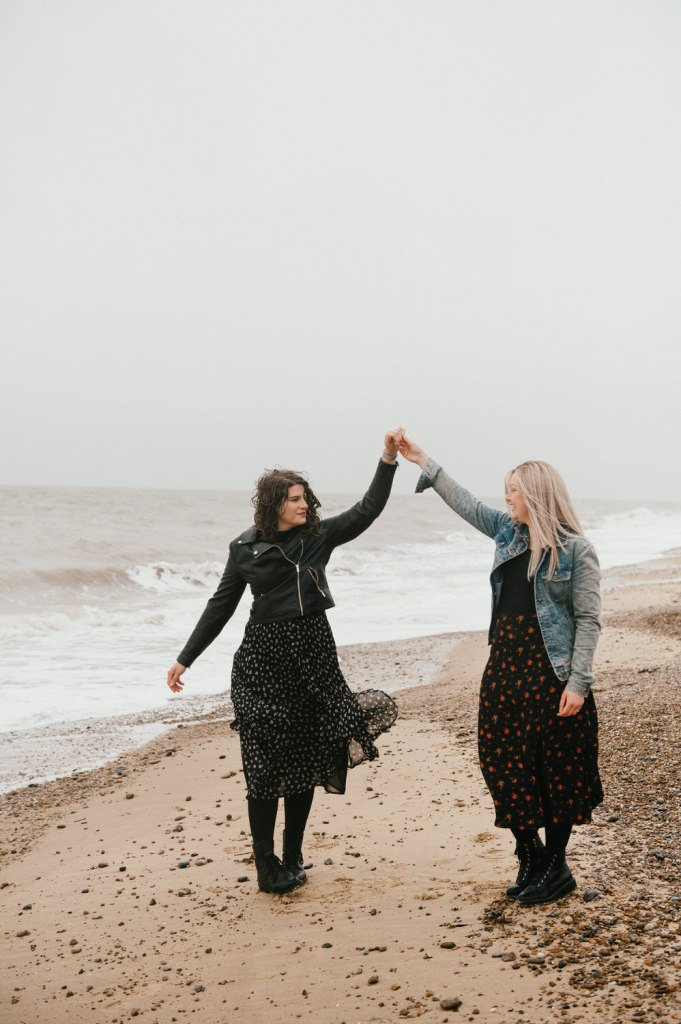 LGBT Couple Dance in The Rain, Beach Engagement Photography