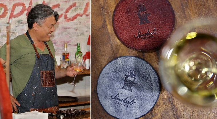 Chris Pak of Sandast Los Angeles Leather Company coasters glass of wine