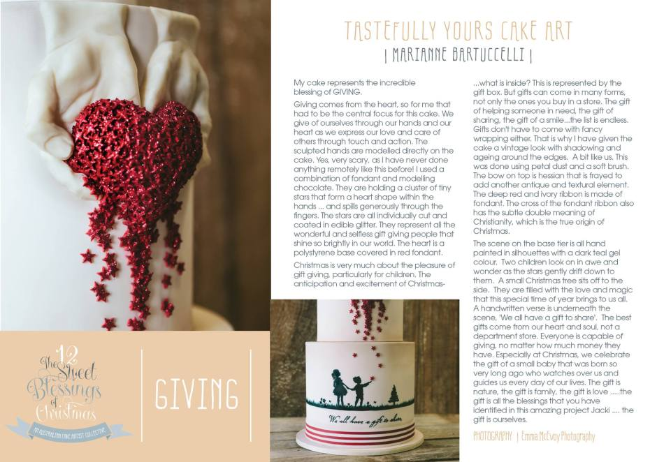 Day 5 Giving explained by Marianne Bartuccelli of Tastefully Yours Cake Art