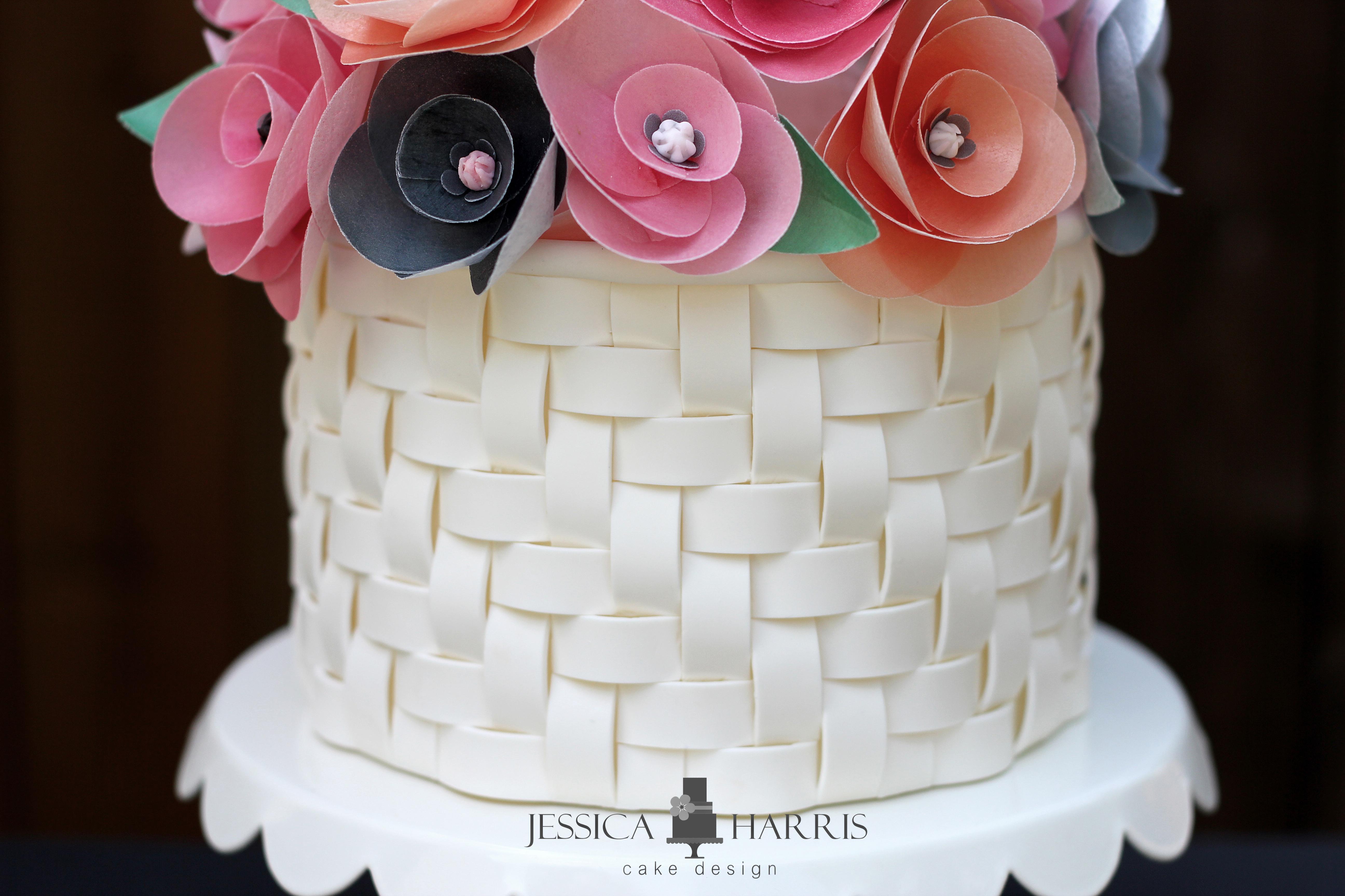 Wafer Paper Flower Tutorial Basketweave Cake
