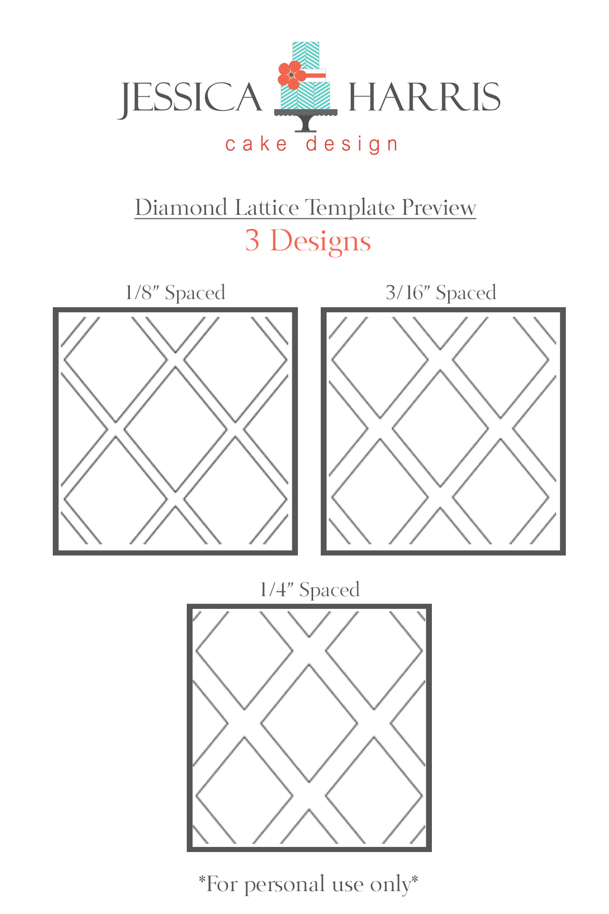 Diamond Lattice Cake Template - 3 Designs - Jessica Harris Cake Design