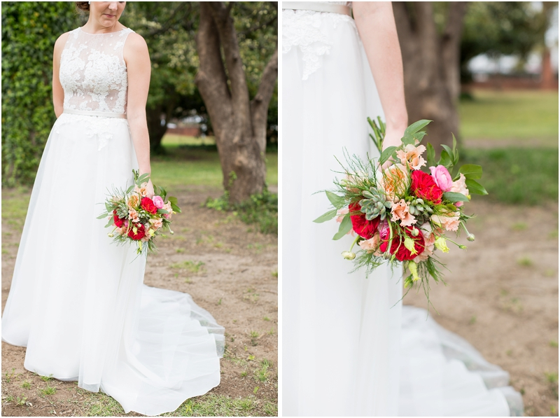 Spring bride with floral bouquet