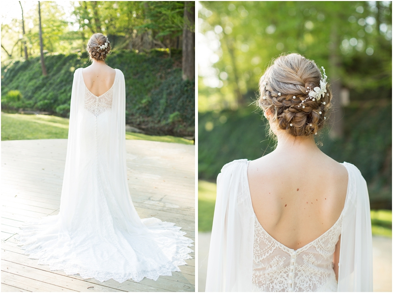 back of gown and hair on bride