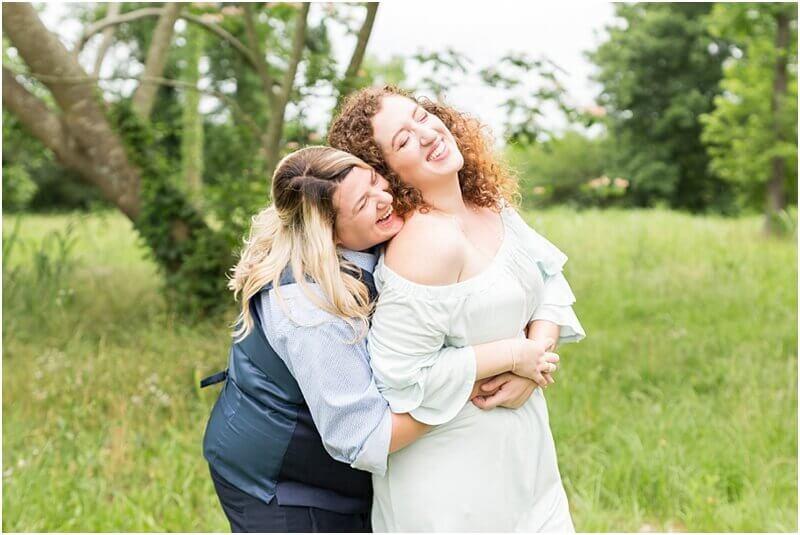 lesbian brides laughing