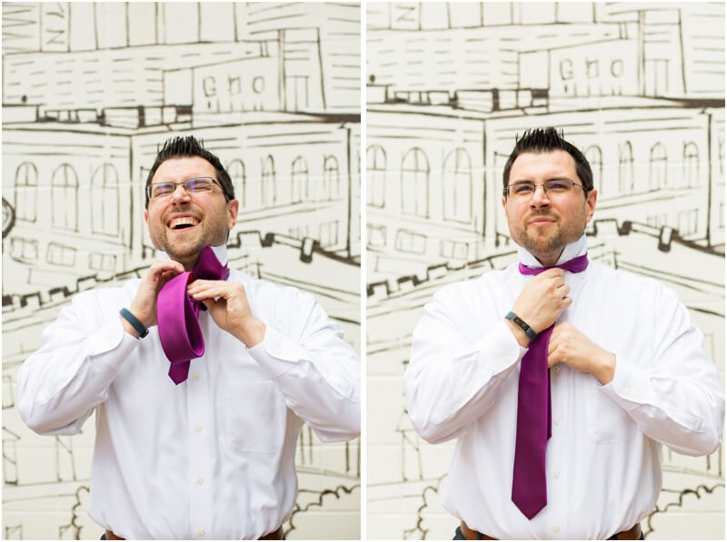 Basilica of St Peters Aloft hotel groom getting ready portraits