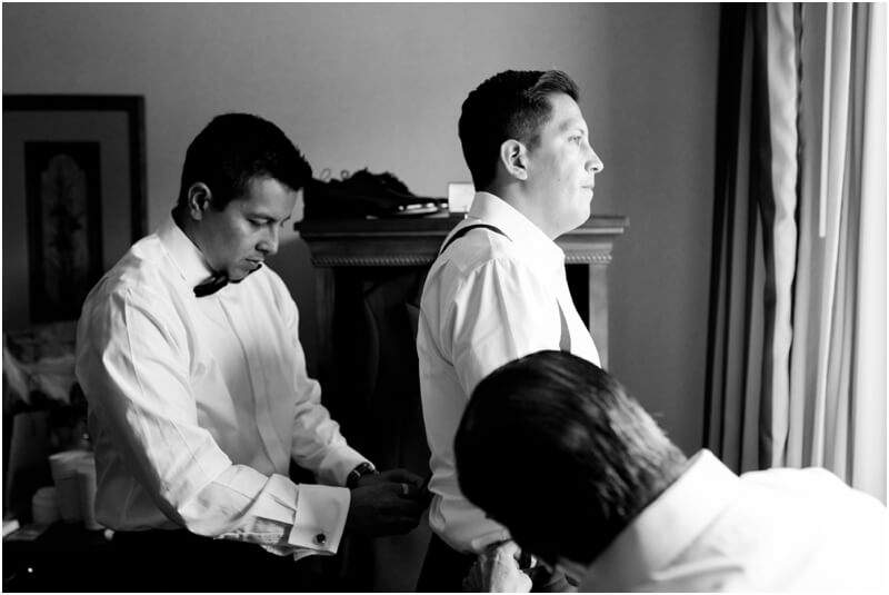 black and white wedding photos groom getting ready NJ wedding photos