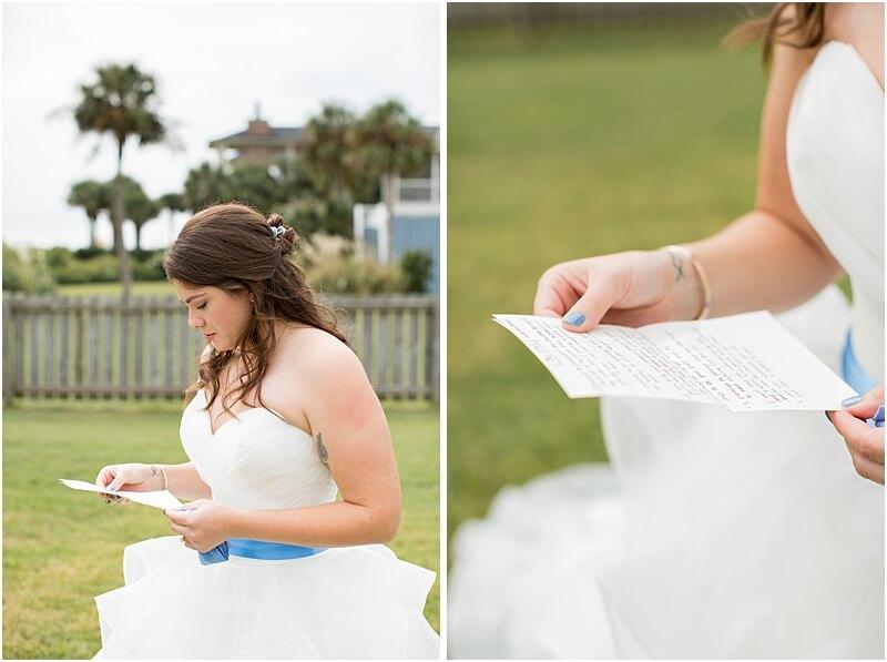LGBTQ+ Citadel Beach Club Bride reading intimate note