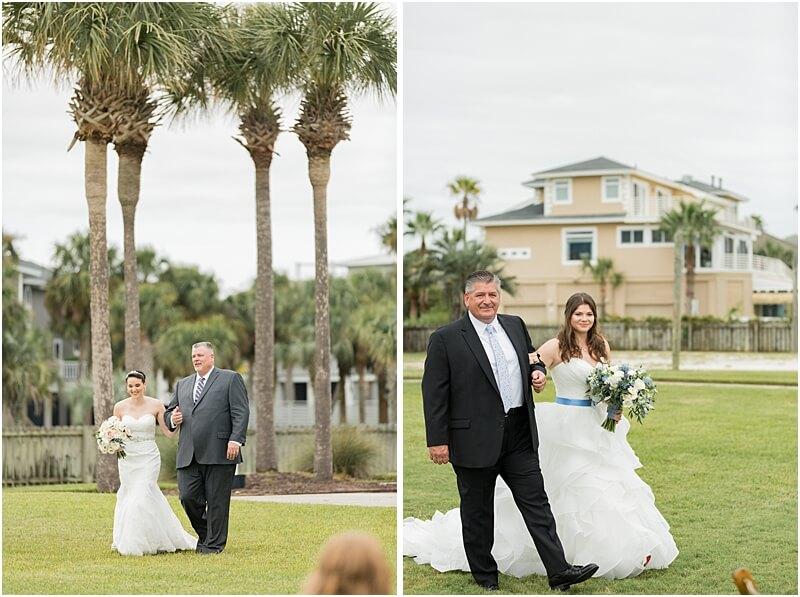 LGBTQ+ Citadel Beach Club Wedding Ceremony Brides with Fathers
