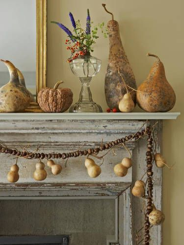 Via Www.countryliving.com Dried Gourds And Squash On This Mantle Remind Me  Of My Grandmother. Additional U0027Tiny Bottleu0027 Gourds Hang From A Garland Of  ...